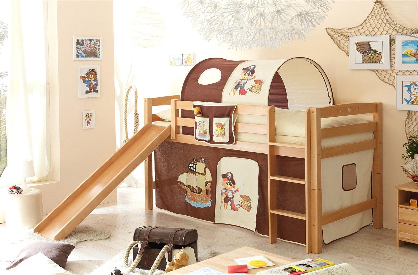 hochbett pirat mit rutsche cheap hochbett robi r mit rutsche buche natur vorhang piratbraun. Black Bedroom Furniture Sets. Home Design Ideas