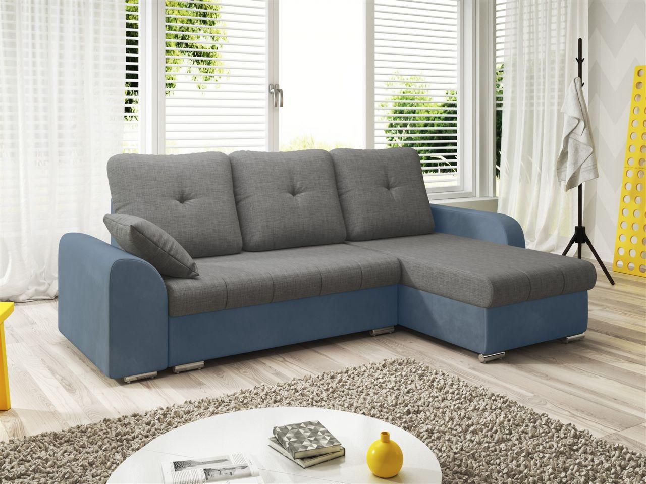 ecksofa sofa dekos mit schlaffunktion hellblau grau. Black Bedroom Furniture Sets. Home Design Ideas