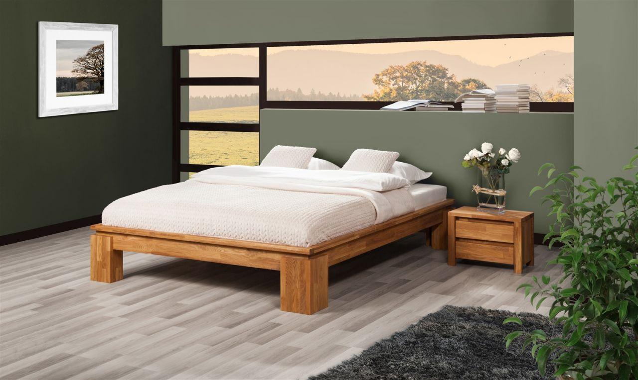 Futonbett Bett Schlafzimmerbet Maison Xl Eiche Massiv 90x200 Cm