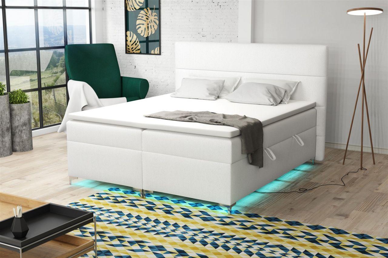 Boxspringbett Schlafzimmerbett CANELA 160x200cm inkl.Bettkasten/ LED