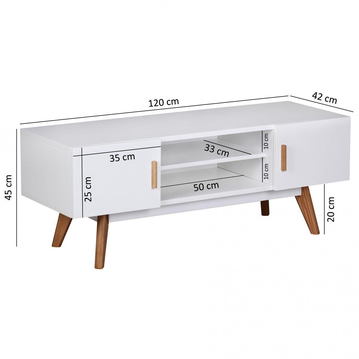 tv board schrank alva weiß matt füsse eiche 120x42 cm - kaufen bei