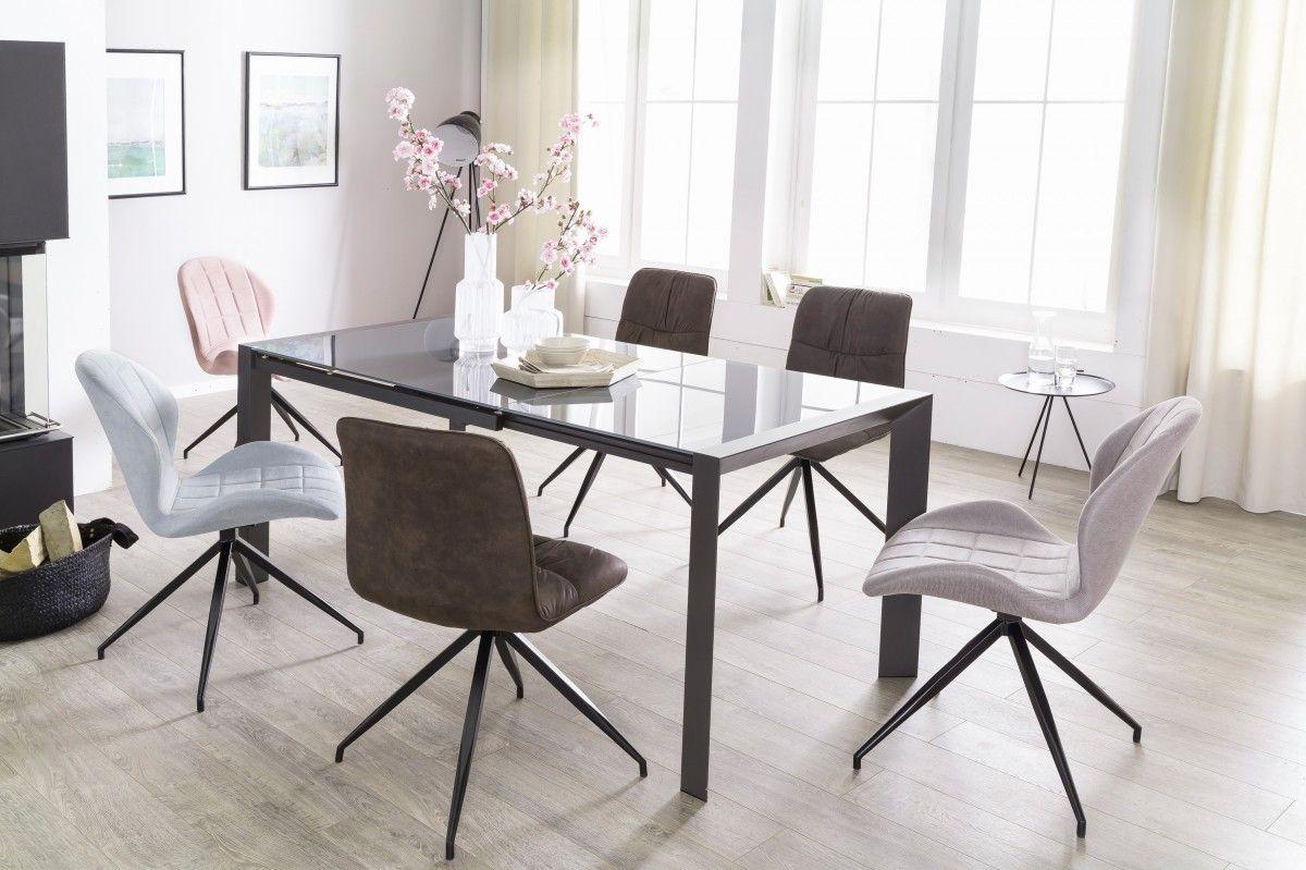 esstisch ausziehbar dunkelgrau metall glas moden 136. Black Bedroom Furniture Sets. Home Design Ideas