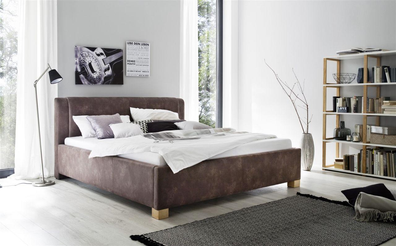 Polsterbett Bett Doppelbett Rom 140x200 Cm Stoffbezug Vintage