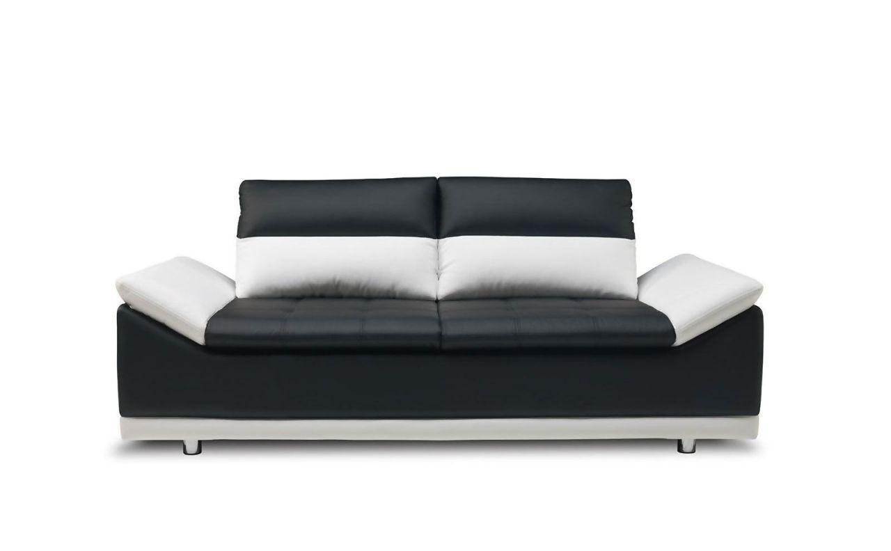 Sofa 2 Sitzer MONDI Kunstleder Schwarz / Weiss 183x90x100 Cm 1 ...