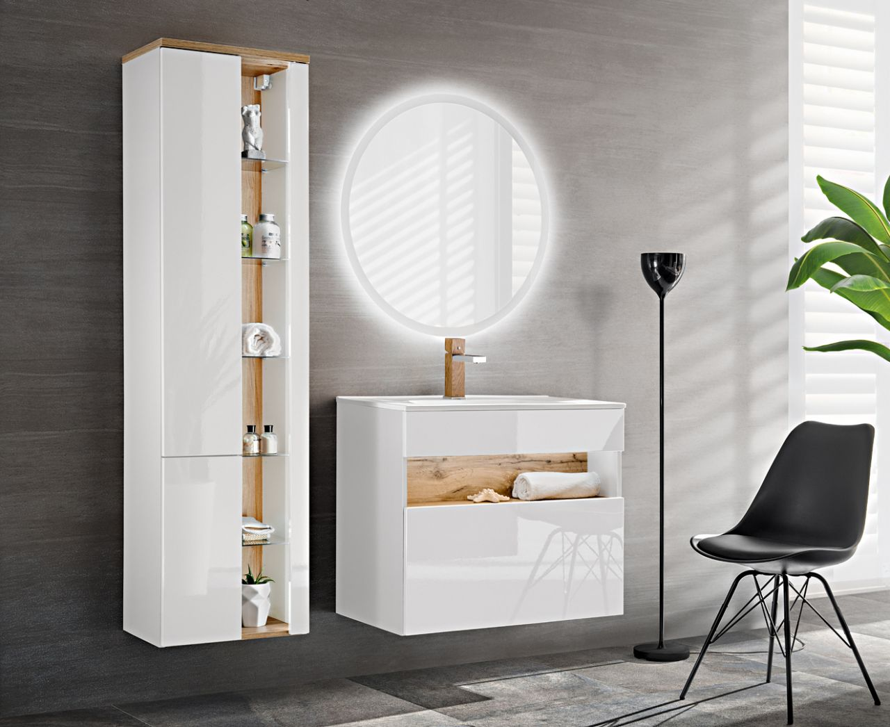 Badmöbel Set 8-tlg Badezimmerset VARESE Weiss inkl.Waschtisch 8cm