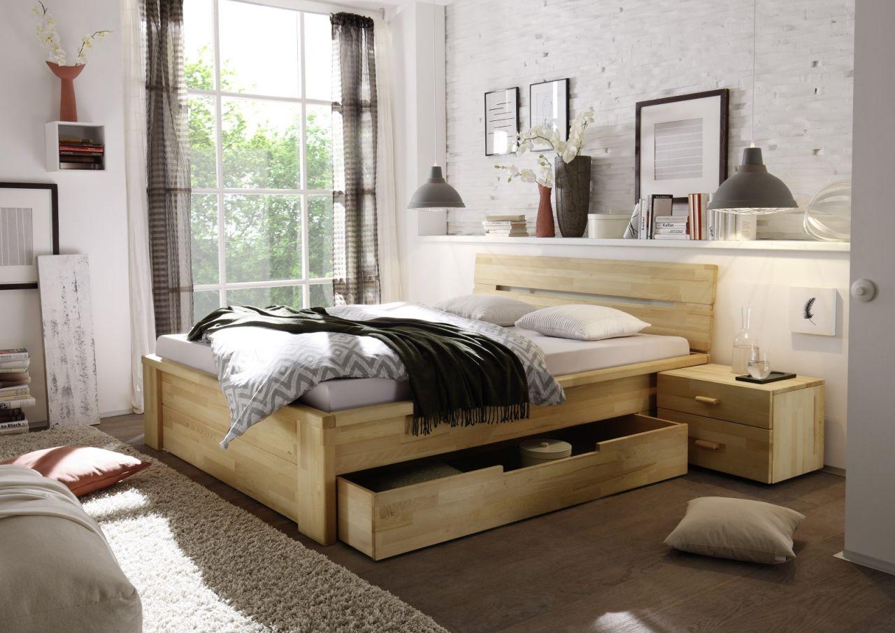 Massivholzbett Schlafzimmerbett - RONI - Bett Kernbuche 140x200 cm ...
