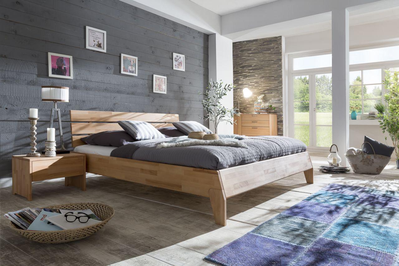 Massivholzbett Schlafzimmerbett - Reni - Bett Kernbuche 140x200 cm ...