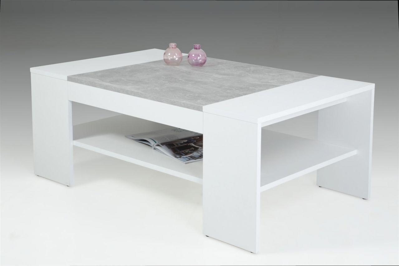 Couchtisch Wohnzimmertisch Beistelltisch VERA 111x67 cm Weiß / Beton
