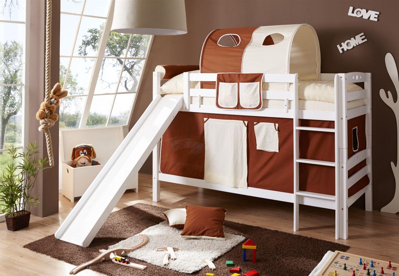Etagenbett Rutsche Weiß : Möbilia etagenbett rutsche buche weiß lackiert liegeflächen