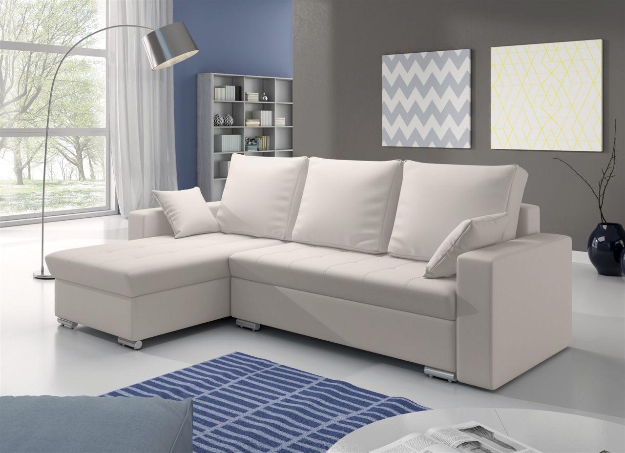 ecksofa sofa adara mit schlaffunktion kunstleder weiss. Black Bedroom Furniture Sets. Home Design Ideas