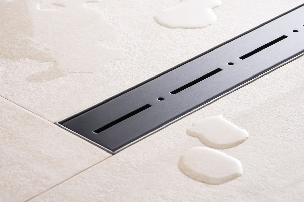 duschrinne dusch badablauf bodenablaufrinne nr.2 - 80 cm/ schwarz