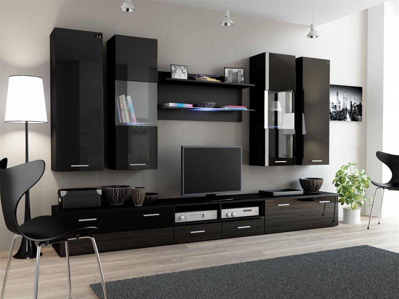 wohnwand schwarz led. Black Bedroom Furniture Sets. Home Design Ideas