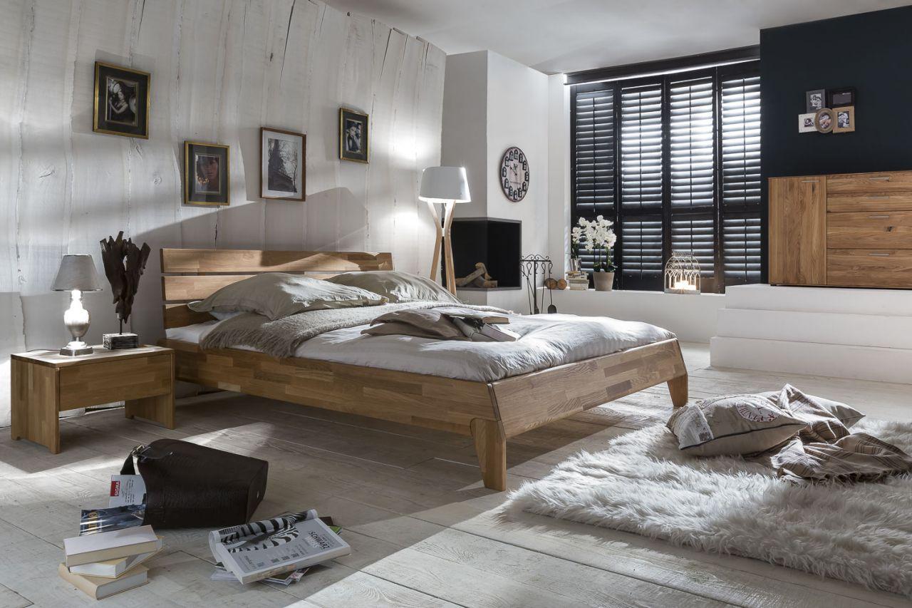Massivholzbett Schlafzimmerbett Reni Bett Wildeiche 180x200 Cm