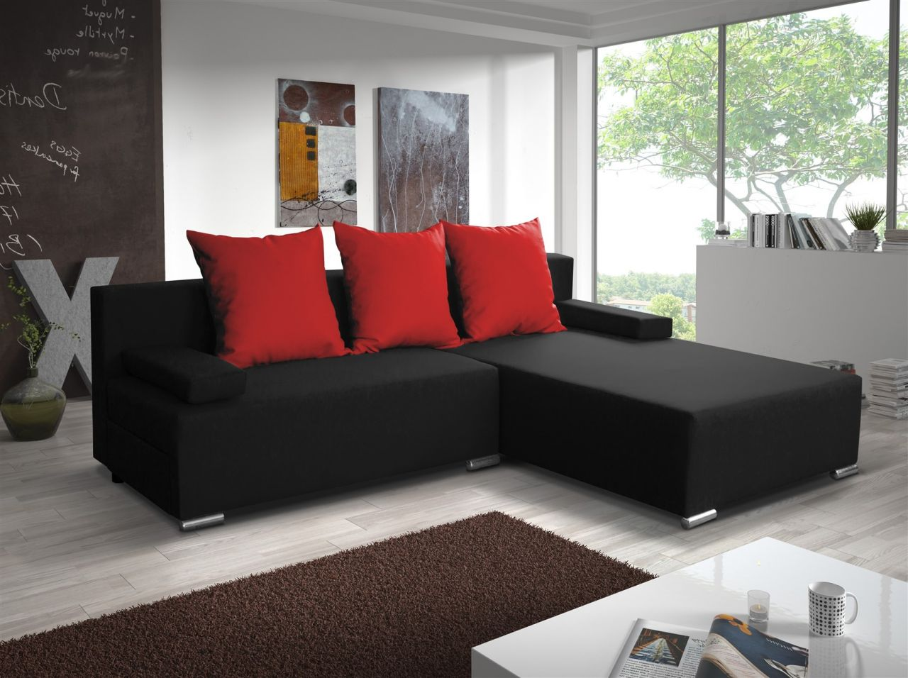 ecksofa sofa lucy mit schlaffunktion schwarz rot. Black Bedroom Furniture Sets. Home Design Ideas