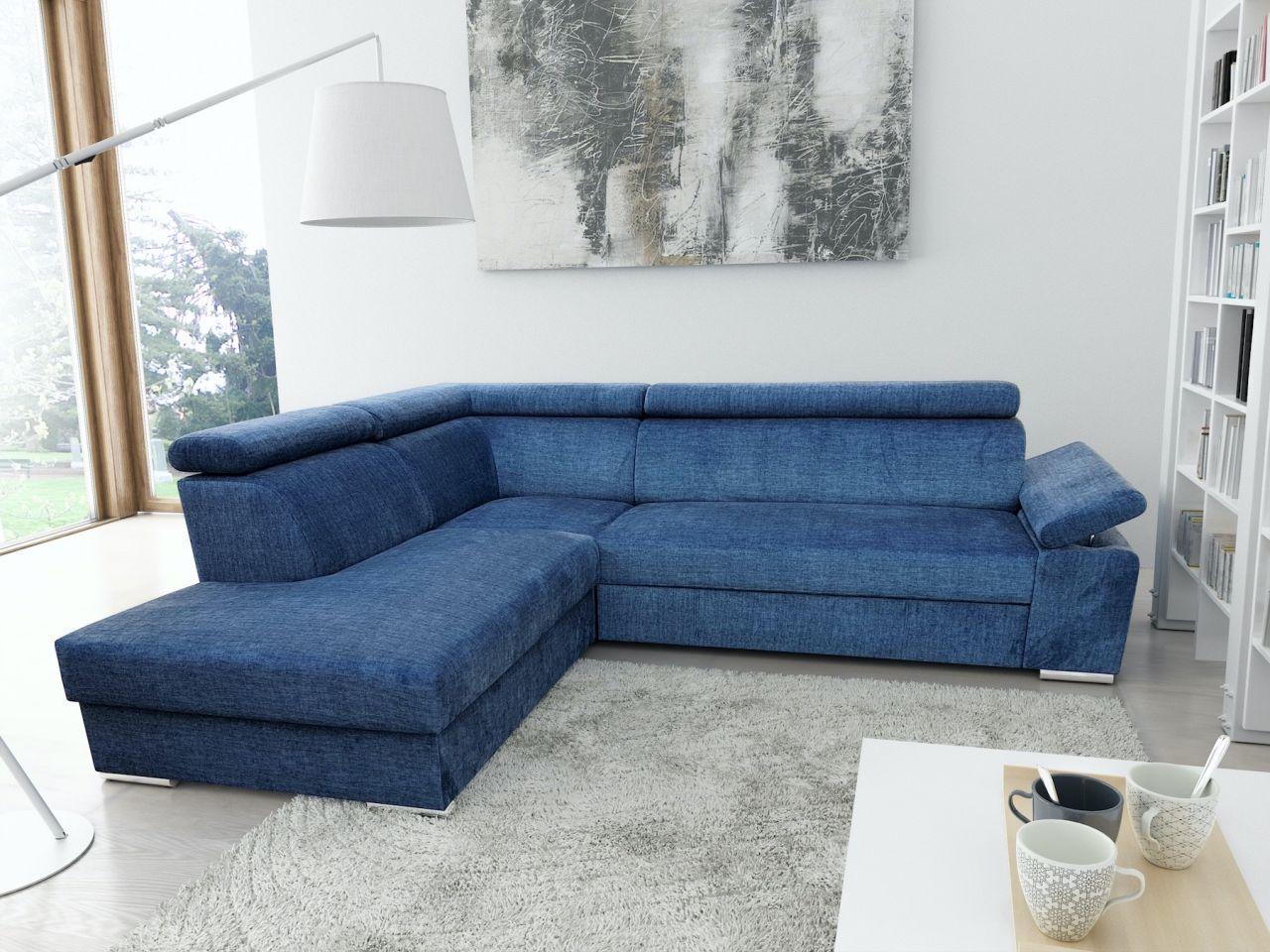 Ecksofa Sofa Libra Mit Schlaffunktion Blau Ottomane Links Kaufen Bei Sylwia Lesniewska Fun Mobel