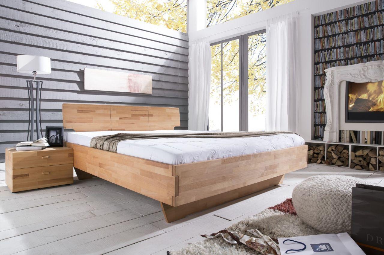 Massivholzbett Schlafzimmerbett - ELO -Bett Kernbuche 200x200 cm ...