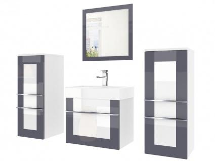 Badmöbel Set 4-tlg DAWINO Set.3 Grau-Weiss inkl.Waschtisch 50 cm