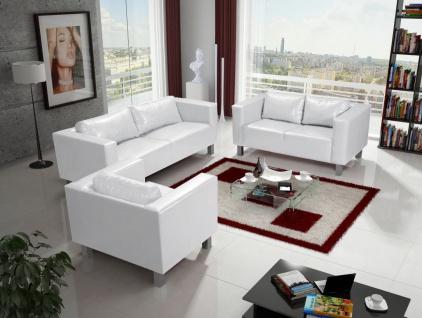 Sofa Set MAILAND 3-2-1 Sofagarnitur in Kunstleder Weiss