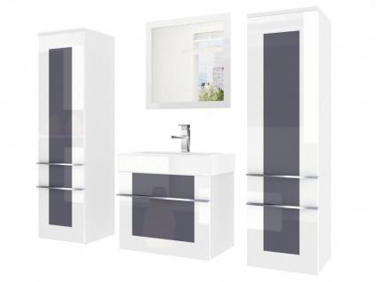 Badmöbel Set 4-tlg DAWINO Set.5 Weiss-Grau inkl.Waschtisch 50 cm