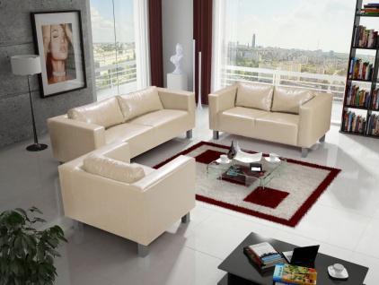 Sofa Set MAILAND 3-2-1 Sofagarnitur in Kunstleder Creme
