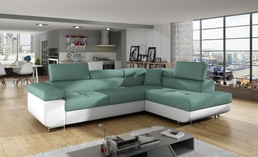 Couchgarnitur JADE Weiss-Meeresgrün mit Schlaffunktion Ottomane Rechts