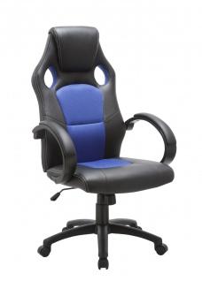 Drehstuhl Bürostuhl Stuhl - Sport - Kunstleder Schwarz - Blau