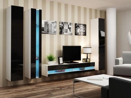Mediawand Wohnwand 4 tlg - SENTIC 7 - Weiss/Schwarz Hochglanz inkl.LED