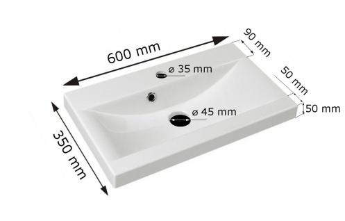 Badmöbel Set 3-Tlg Weiss / Schwarz Hochglanz MINI inkl.Waschtisch - Vorschau 3