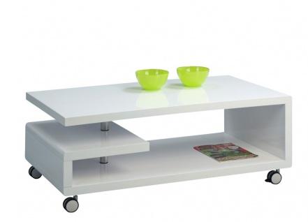 Couchtisch Beistelltisch - Dev 2- 115x60 cm Hochglanz Weiss / Metall
