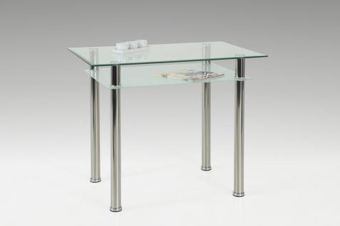 Esstisch Tisch - Sorbon - Vierfußtisch 90 x 60 cm Klarglas / Chrom