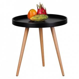Beistelltisch Tisch ALVA 50x50 cm Schwarz matt/ Buche