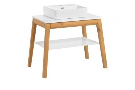 Badmöbel Set 3-tlg Badezimmerset SORBI Eiche massiv + Waschtisch 50cm - Vorschau 2