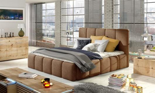 Polsterbett Doppelbett VERONA Set 1 Kunstleder Vintage Braun 180x200cm