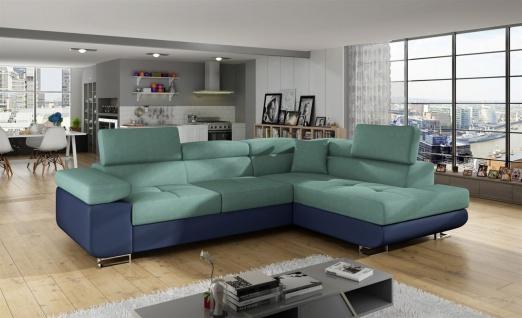 Couchgarnitur JADE Blau-Meeresgrün mit Schlaffunktion Ottomane Rechts
