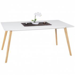 Esstisch Tisch - ELMAR - Vierfußtisch 160x90 cm MDF Weiss Matt/Eiche