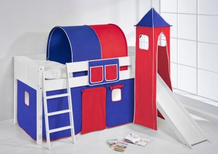 Spielbett mit Rutsche.Turm. Vorhang -LANDI/S - Blau Rot -Kiefer Weiss