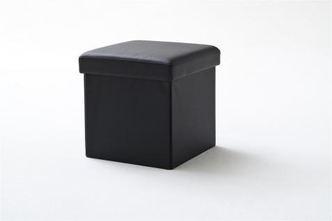 Sitzwürfel mit Deckel Hocker -SELL -Kunstleder Schwarz 40, 5x40, 5x40cm