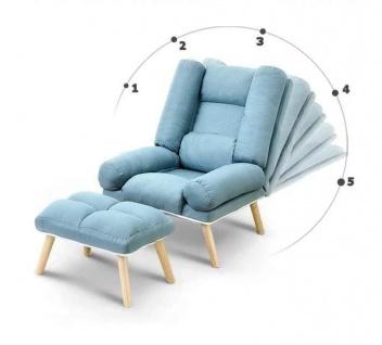 Relaxsessel Sessel VENICE verstellbar in Stoff Dunkelgrau inkl.Hocker - Vorschau 2