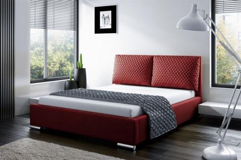 Polsterbett Doppelbett GALENO 140x200 cm Komplettset in Stoff Rot