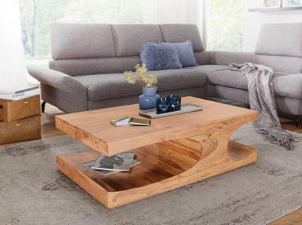 Couchtisch Massivholztisch BUANA 118x70x38 cm mit Ablage Holz Akazie