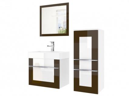 Badmöbel Set 3-tlg DAWINO Set.1 Kastanien-Weiss inkl.Waschtisch 50 cm