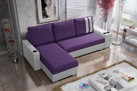 Ecksofa Sofa KNOX XS mit Schlaffunktion Weiss/ Violett Ottomane Links