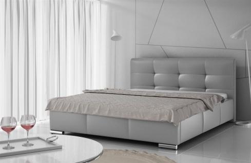 Polsterbett Bett Doppelbett TAYLOR Kunstleder Grau 160x200cm