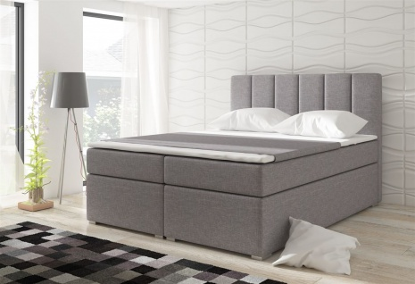Boxspringbett Schlafzimmerbett SOPHIA Webstoff Hellgrau 100x200cm