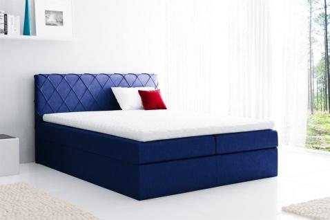 Boxspringbett Schlafzimmerbett GRETA 120x200cm Stoff Blau