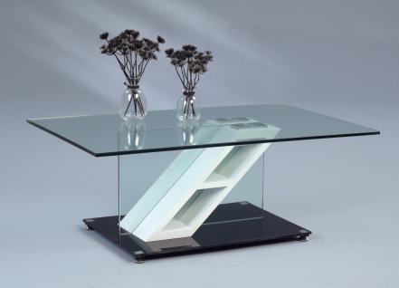 Couchtisch Beistelltisch - Luis - 110x70 cm Glas / Weiss matt