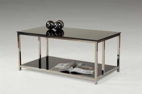 Couchtisch Tisch ABRAM 90x50 cm Schwarz - Chrom / ESG Glas