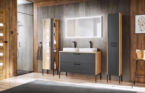 Badmöbel Set 5-tlg Badezimmerset PANTIN Grau ohne Waschtisch