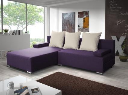 Ecksofa Sofa LUCY mit Schlaffunktion Violett / Beige Ottomane Links