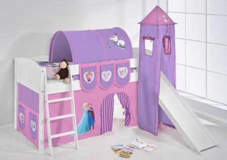 Spielbett mit Rutsche, Turm, Vorhang -LANDI/S - Frozen 1 - Kiefer Weiss
